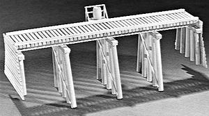 Campbell Scale Model 50' Open Deck Pile Trestle -- HO Scale Model Railroad Trestle Kit -- #302