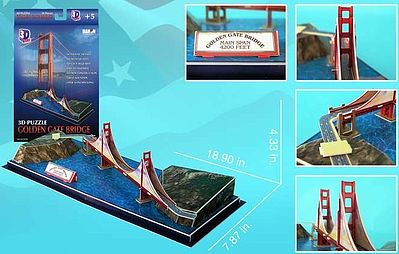 Cubic Fun Golden Gate Bridge (San Francisco, USA) (20pcs) -- 3D Jigsaw Puzzle -- #78