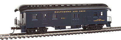 Con-Cor Baggage/Mail Baltimore & Ohio #51 blue -- HO Scale Model Train Passenger Car -- #1000334