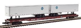 Con-Cor 89 Flat Car withTwo 45 Trailers BNSF N Scale Model Train Freight Car #120603
