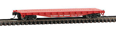 Con-Cor 50' Flatcar with Stakes Great Northern -- N Scale Model Train Freight Car -- #14096
