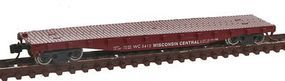 Con-Cor 50' Flatcar with Stakes Wisconsin Central N Scale Model Train Freight Car #14098