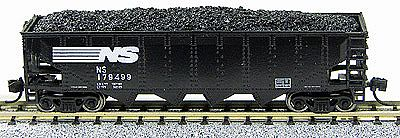 Con-Cor 75-Ton 4-Bay Open Hopper with Load Norfolk Southern N Scale Model Train Freight Car #14488