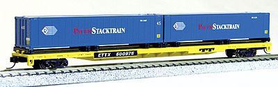 Con-Cor 89' Flatcar with Pacer Stacktrain Containers -- N Scale Model Train Freight Car -- #14881
