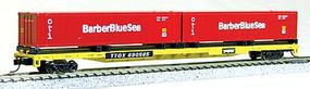 Con-Cor 89' TTX Flatcar with 2 Barber Blue Sea Containers N Scale Model Train Freight Car #14882