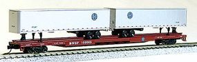 Con-Cor 89 Burlington Northern Santa Fe Flatcar with 2 BNSF Trailers N Scale Model Freight Car #14891
