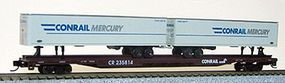 Con-Cor 89' Conrail Flatcar with 2 Conrail Mercury Trailers N Scale Model Train Freight Car #14893