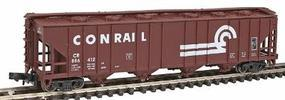 Con-Cor 52 4-Bay Covered Hopper Conrail N Scale Model Train Freight Car #1733