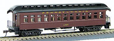 1880s wood open platform coach pennsylvania railroad ho scale model train passenger car 224 by. Black Bedroom Furniture Sets. Home Design Ideas