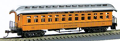 Con-Cor 1880s Wood Open-Platform Coach Durango & Silverton -- HO Scale Model Train Passenger Car -- #227
