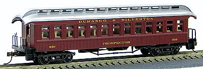 Con-Cor 1880s Wood Open-Platform Coach Durango & Silverton -- HO Scale Model Train Passenger Car -- #228