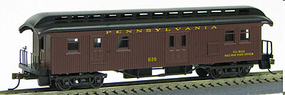 Con-Cor 1880s Wood Open-Platform Baggage-RPO Pennsylvania Railroad -- HO Scale Model Passenger Car -- #324