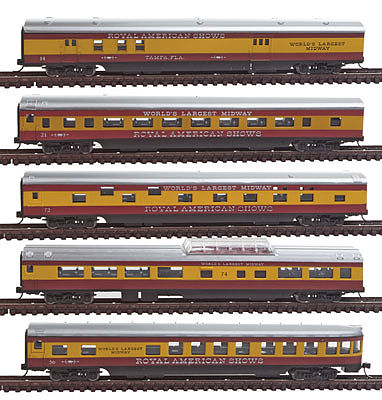 Con-Cor 5-Car Passenger Set Royal American Shows N Scale Model Train Passenger Car #40373