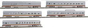 Con-Cor 85 Smooth-Side 5-Car Set Santa Fe N Scale Model Train Passenger Car #40377