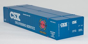 Con-Cor 53 Smooth-Side Container 2-Pack - Assembled CSX Set #1 (Careforce Scheme, blue, white, red, black, yellow) - N-Scale