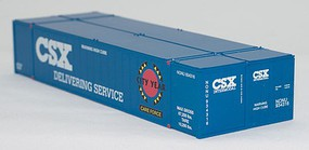 Con-Cor 53 Smooth-Side Container 2-Pack - Assembled CSX Set #2 (Careforce Scheme, blue, white, red, black, yellow) - N-Scale