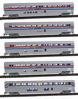 Con-Cor 5-Car Set Amtrak phase III N Scale Model Train Passenger Car #40672