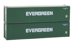 Con-Cor 40 Hi-Cube Container 2-Pack Evergreen Set #2 N Scale Model Train Freight Car #443006