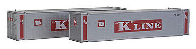 Con-Cor 45' Container K-Line Sliver (2) -- N Scale Model Train Freight Car Load -- #444009