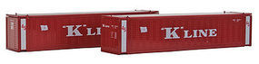 Con-Cor 45' Container K-Line red (2) N Scale Model Train Freight Car Load #444010