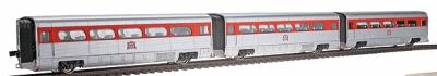 Con-Cor AeroTrain Add-On 3-Car Coach Set Rock Island 1958-66 HO Scale Model Train Passenger Car #8756