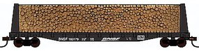 Con-Cor Pulpwood Flatcar with Load BNSF Railway HO Scale Model Freight Car #92062