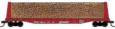 Con-Cor Pulpwood Flatcar with Load BNSF Railway -- HO Scale Model Freight Car -- #92063
