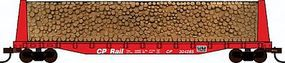 Con-Cor Pulpwood Flatcar with Load Canadian Pacific HO Scale Model Freight Car #92066