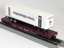 Con-Cor 54 Flatcar with Trailer ATSF HO Scale Model Train Freight Car #9422