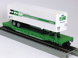 Con-Cor 54 Flatcar with Trailer Burlington Northern HO Scale Model Train Freight Car #9425