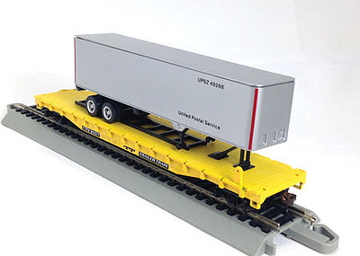 Con-Cor 54' Flatcar with Trailer TT -- HO Scale Model Train Freight Car -- #9426