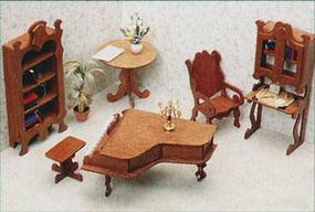Corona Library Furniture Wooden Doll House Kit #7206