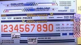 Chimney MN, MT, & Detroit State Trooper Police Decals Plastic Model Car Decal 1/24 Scale #3033