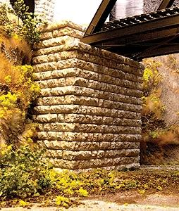 Chooch Enterprises Single Track Deep-Cut Stone Bridge Abutment -- HO Scale Model Railroad Scenery -- #8445