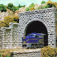 Chooch Tunnel Portal Cut Stone Double Track 3-1/2 x 3-29/32 8.7 x 9.7cm pkg(2) - N-Scale