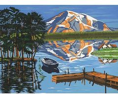 Colart Lake/Boat Dock/Mountain Acrylic Paint by Number 11.5x15.5 Paint By Number Kit #11015