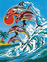 Colart Dolphins Acrylic Paint by Number 9x12 Paint By Number Kit #12034