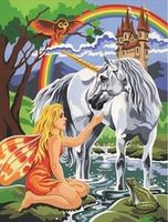 Colart Unicorn & Fairy Acrylic Paint by Number 9x12 Paint By Number Kit #12040