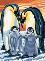 Colart Penguins Acrylic Paint by Number 9x12 Paint By Number Kit #12045