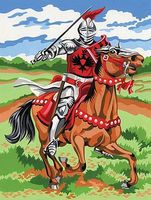 Colart Knight on Horse Acrylic Paint by Number 9x12 Paint By Number Kit #12067
