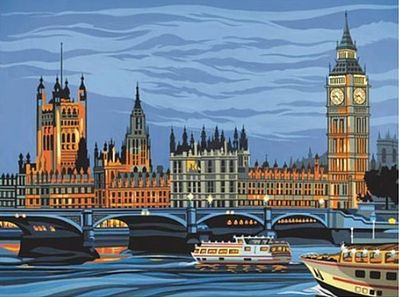 Colart Houses of Parliament, England Acrylic Paint by Number 11.5''x15.5'' -- Paint By Number Kit -- #12187