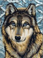 Colart Wolf/Winter Scene Acrylic Paint by Number 9x12 Paint By Number Kit #12191