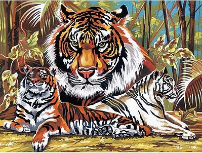Colart Tigers Acrylic Paint by Number 11.5''x15.5'' -- Paint By Number Kit -- #13043