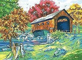 Colart Covered Bridge Acrylic Paint by Number 11.5x15.5 Paint By Number Kit #13049