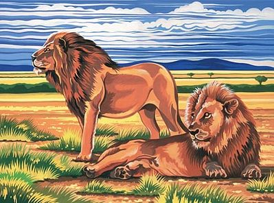 Colart Lions Acrylic Paint by Number 11.5''x15.5'' -- Paint By Number Kit -- #13058