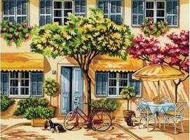 Colart Al Fresco Dining Acrylic Paint by Number 11.5x15.5 Paint By Number Kit #13060