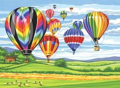 Colart Hot Air Balloons Acrylic Paint by Number 11.5''x15.5'' -- Paint By Number Kit -- #13155