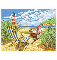 Colart Seashore w/Lighthouse Acrylic Paint by Number 11.5''x15.5'' -- Paint By Number Kit -- #13162
