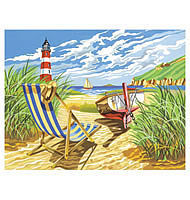 Colart Seashore w/Lighthouse Acrylic Paint by Number 11.5x15.5 Paint By Number Kit #13162