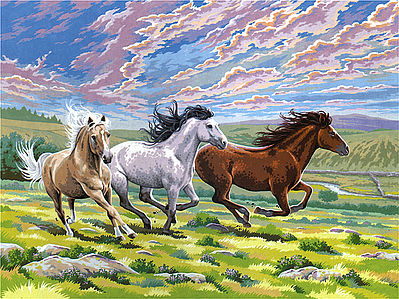 Colart Galloping Horses Acrylic Paint by Number 11.5''x15.5'' -- Paint By Number Kit -- #15205